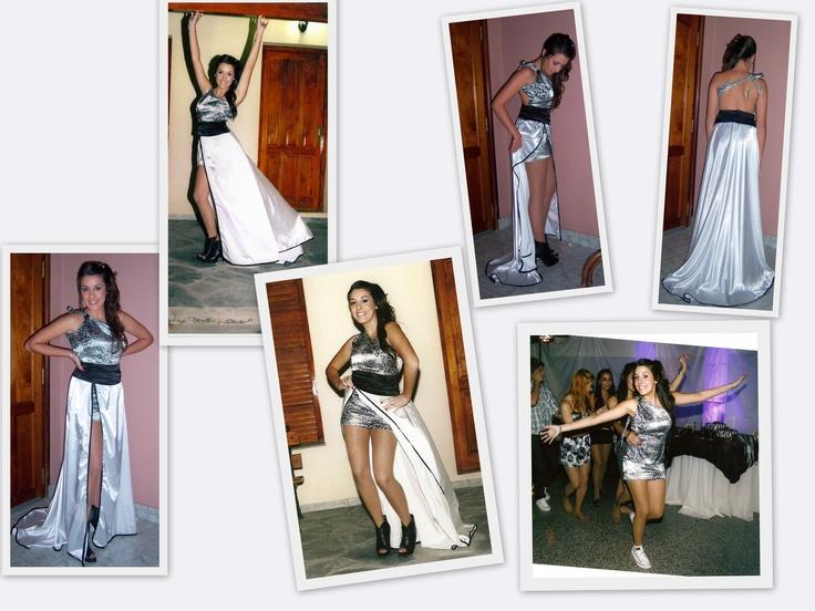 vestido 15 de sol abril 2011. de saten elastizado de leopardo el vestido corto, la falda en saten blanco y la faja de saten negro. bacana