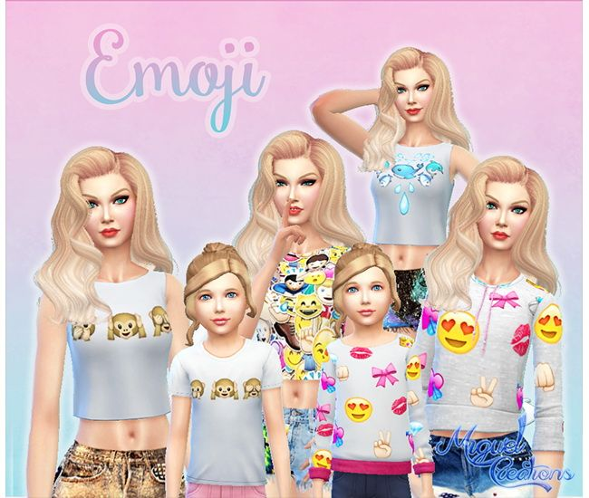 Emojis Shirts at Victor Miguel via Sims 4 Updates