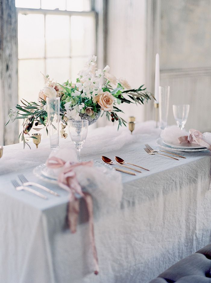 Elegant Rose Gold and Crystal Wedding Decor with Blush Flowers