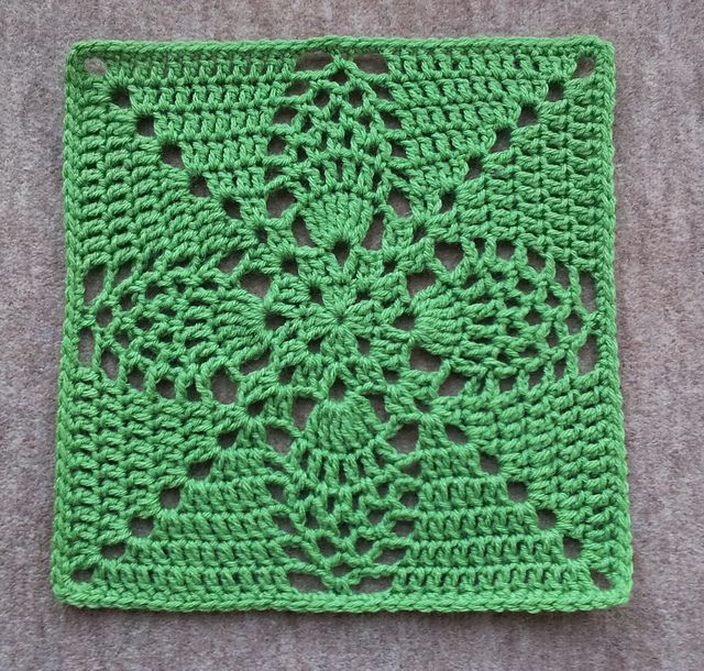 """Pineapple Granny 12"""" Pillow-ghan Square, free pattern by Priscilla Hewitt.  Totally different looks can be achieved using different colors; check Ravelry Project Gallery.  #crochet #motif"""