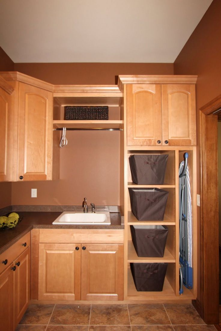 Tips For Choosing The Comfortable Laundry Room Cabinets : Wooden Cabinets  For Laundry Room Design