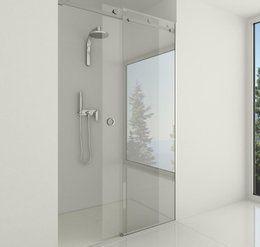 Glazen douche schuifdeur in combinatie met rvs  Deze glazen douche schuifdeur is tevens geschikt als schuifdeur voor niet vochtige ruimtes.  Alle douchewanden worden opmaat gemaakt waardoor bijna alle lengtes en hoogtes mogelijk zijn.  Het zandstralen van afbeeldingen, teksten of foto's is in dit type van schuifsysteem wanden en deuren goed mogelijk.