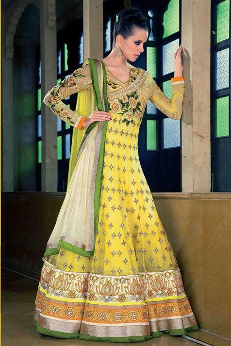 Designer Yellow Net Floor Touch Anarkali Dress