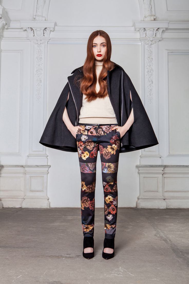"LUBLU Kira Plastinina ""Floral block pants"" and ""Belted cape jacket."""