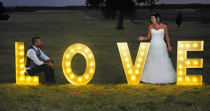 Barn or farm wedding letter standee with lights. Perfect for newly wed pictorial