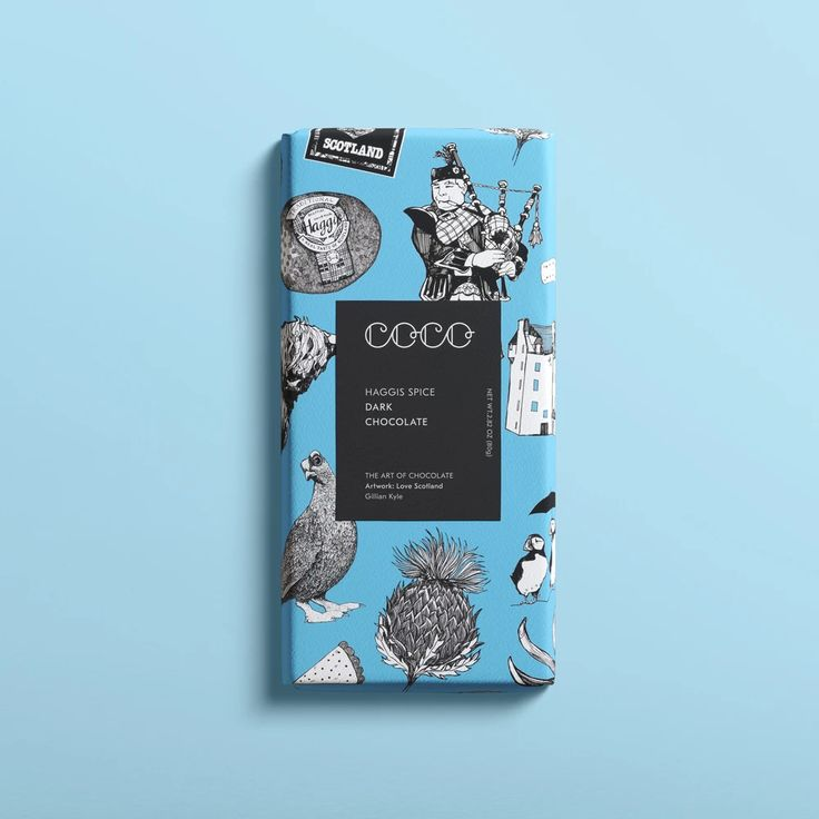 The perfect Scottish gift from COCO Chocolatier. Enveloped in a design by independent Scottish artist Gillian Kyle. Luxury Chocolate, Dark Chocolate Bar, How To Make Chocolate, Chocolate Making, Gourmet Gift Baskets, Gourmet Gifts, Chocolate Delivery, Scottish Gifts, Gin And Tonic