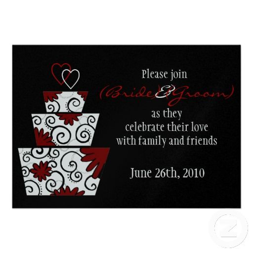 16 best black red and white wedding invitations images on pinterest modern black and red wedding cake invitation stopboris Gallery