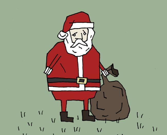 Sad Santa in a Field