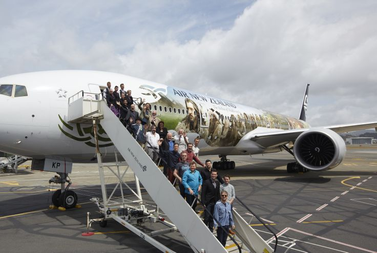 The Air New Zealand Hobbit 777-300ER with Peter Jackson and some of The Hobbit cast