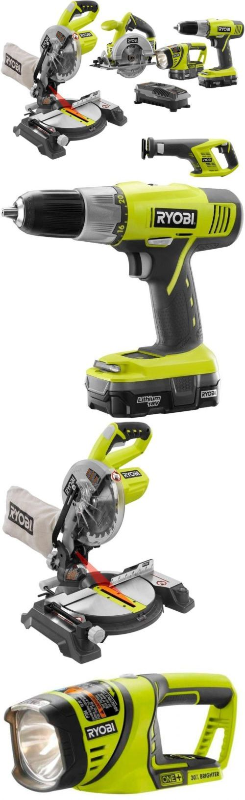 Combination Sets 177000: Ryobi One+ 18-Volt Lithium-Ion Cordless Combo Kit With Miter Saw (5-Tool) No Tax -> BUY IT NOW ONLY: $249.17 on eBay!
