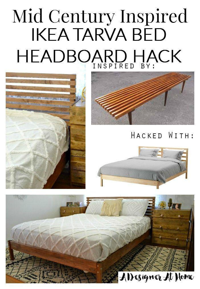Mitte Des Jahrhunderts Inspiriert Ikea Tarva Bett Kopfteil Hack In 2020 Ikea Bed Frames Headboards For Beds Ikea Bed Hack