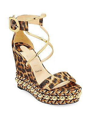 7dc5ef41b060 Christian Louboutin Chocazeppa 120 Leopard Lurex Wedge Sandals ...