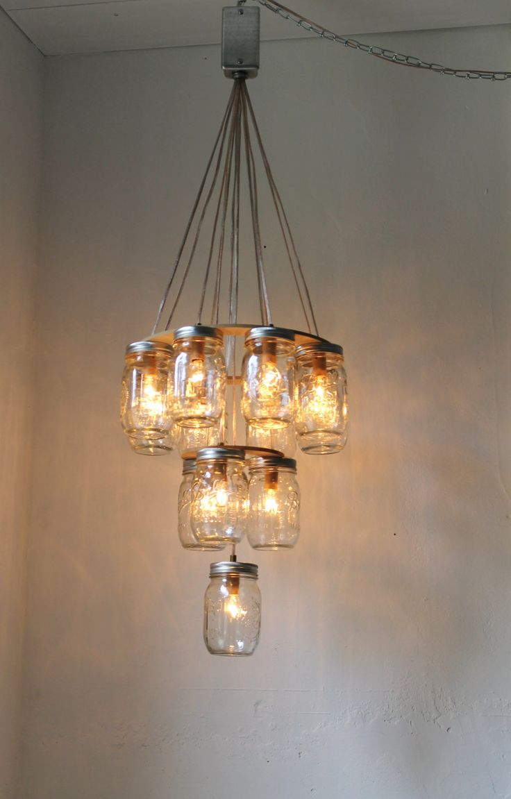 3 tier Mason Jar Chandelier Mason Jar Lighting by BootsNGus, $325.00#Repin  By: