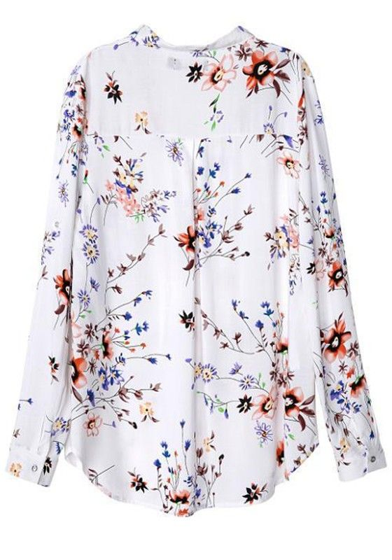 White Floral Print Long Sleeve Blouse