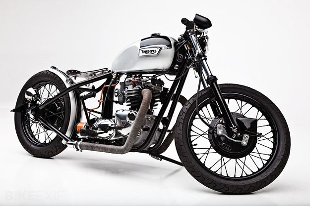 """1973 Triumph 750 TR7/Tiger ... You could call this style 'retro streetfighter', and it's the signature look of Tempe, Arizona based Helrich Custom Cycles. The shop is run by Dave Helrich and Jennifer Maa, and according to Maa, """"We aim to keep things as simple and clean as possible."""