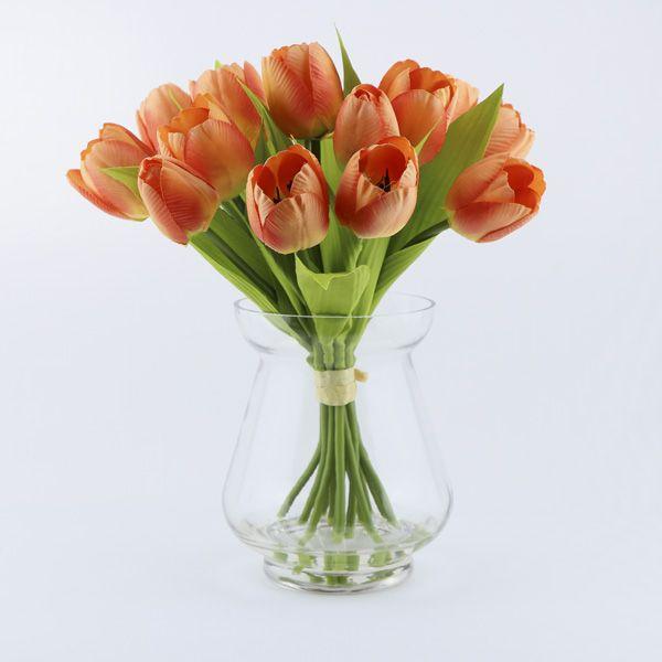orange tulip in glass vase with artificial water  #artificialwater #artificialflowers #giftsafterlife #flowers #artificial #vase #tulips