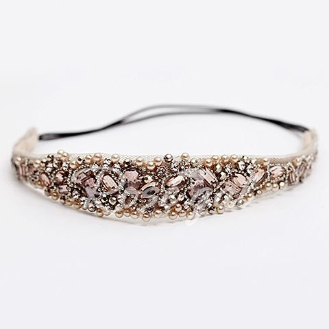 Elegant Rhinestoned Beading Lace Headband For Women