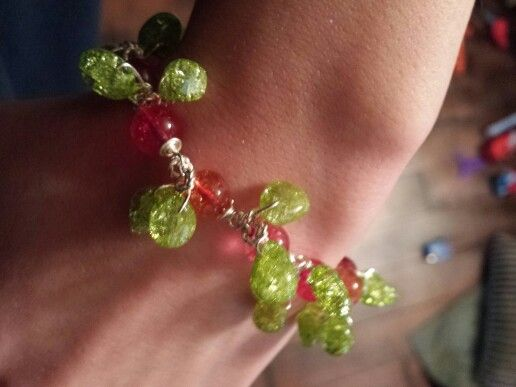 Shattered glass beads in red, orange, hot pink and green... mostly goofing off then really trying. ..