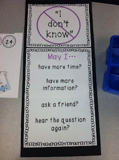 """No more, """"I don't know"""" responses!  Maybe have the students create the list?"""