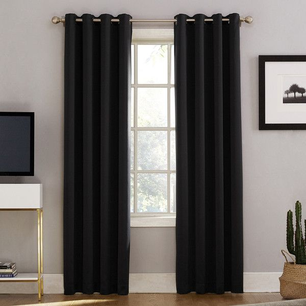 Sun Zero Norway Home Theater Grade Extreme Blackout Window Curtain 35 Liked On Polyvore Featuring Home Curtains Black Window Treatments Drapes And Blinds