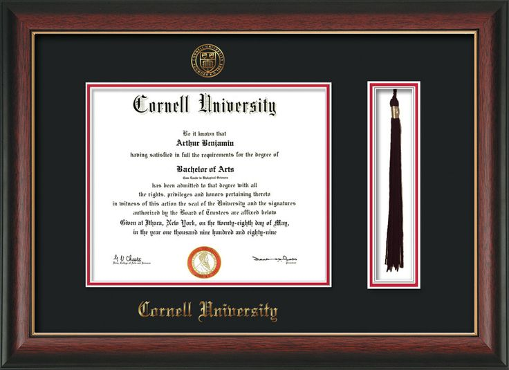 Cornell U Diploma Frame-Rose Gold L-w/Cornell Tassel-Black on Red mat – Professional Framing Company