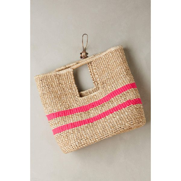 Indego Africa Fuschia-Striped Straw Bag ($198) ❤ liked on Polyvore featuring bags, handbags, pink, striped purse, straw bag, striped handbag, pink bag and pink purse