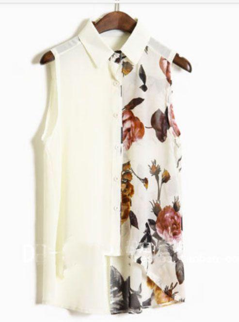 Beige Ink Floral Print Sleevelless Chiffon Sheer Shirt