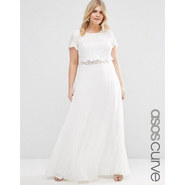 ASOS CURVE Maxi Dress with Lace Crop Top ($73) ❤ liked on Polyvore featuring dresses, plus size, white, lace dress, maxi dresses, plus size white dress, plus size maxi dresses and plus size lace dress