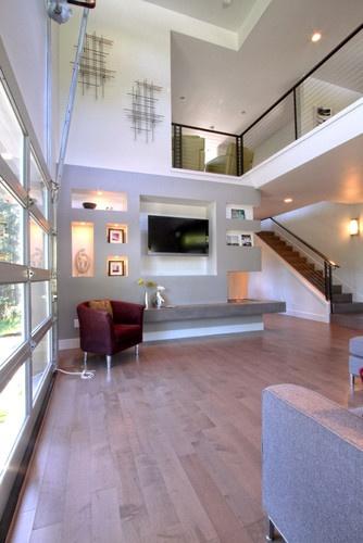 Urban cosmopolitan Great Room with ethanol fireplace   modern family room   Jordan Iverson Signature Homes #designbuild