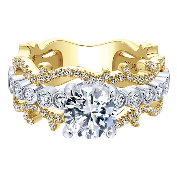 18k Yellow/white Gold Diamond Free Form Engagement Ring
