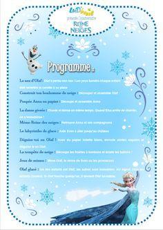 Programme activités anniversaire Reine des Neiges enfants