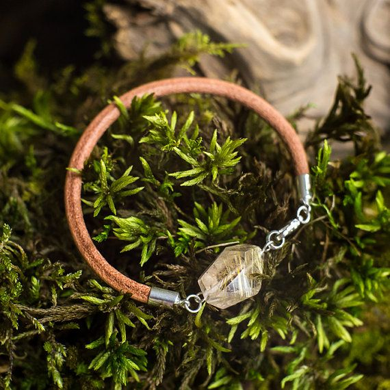 Leather rutilated quartz boho bracelet  MyROCKandSOUL