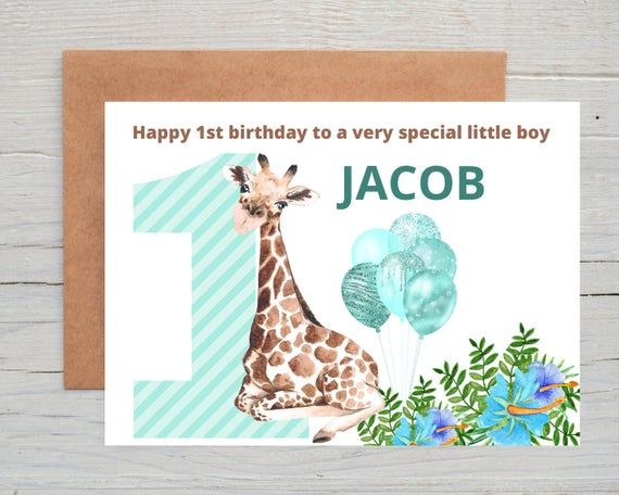 Personalised Birthday Card Boys 1st Birthday Card Personalised 1st Birthday Card Personalised 1st Birthday Card Son Safari Birthday Card Personalized Birthday Cards 1st Birthday Cards Birthday Card With Name