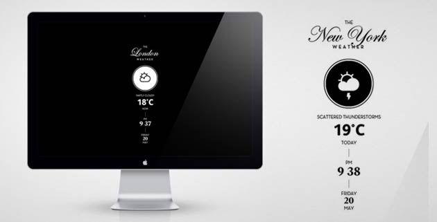 the Weather – Mac screensaver  http://www.feeldesain.com/the-weather-mac-screensaver.html