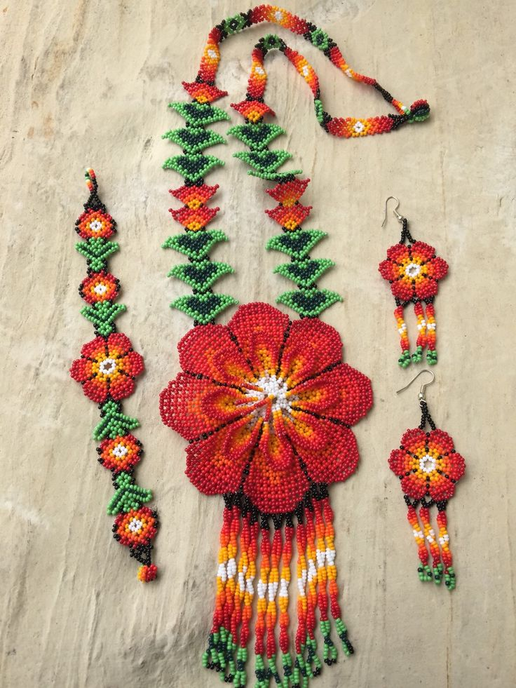 A personal favorite from my Etsy shop https://www.etsy.com/listing/279042090/huichol-beaded-flower-necklace-set