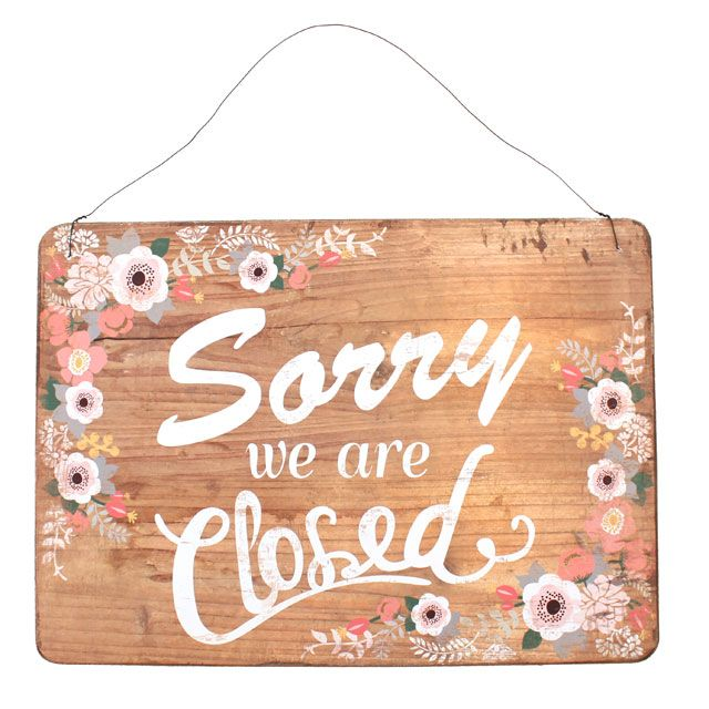 Wholesale Pretty open and closed two sided wooden sign - Something Different