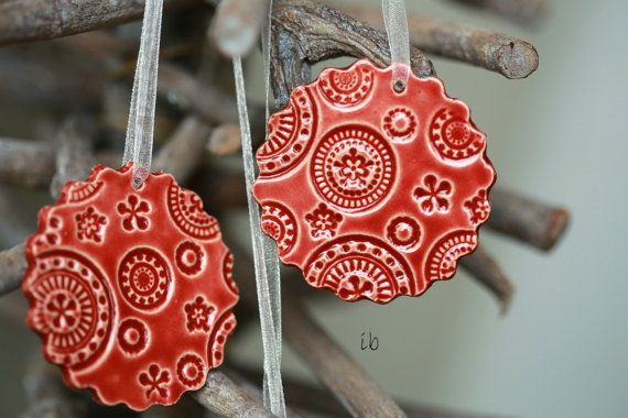 Red Ceramic Christmas Ornaments Lace Ceramic  Scallop Winter Home Decoration Gift Set of 3 on Etsy, $16.00