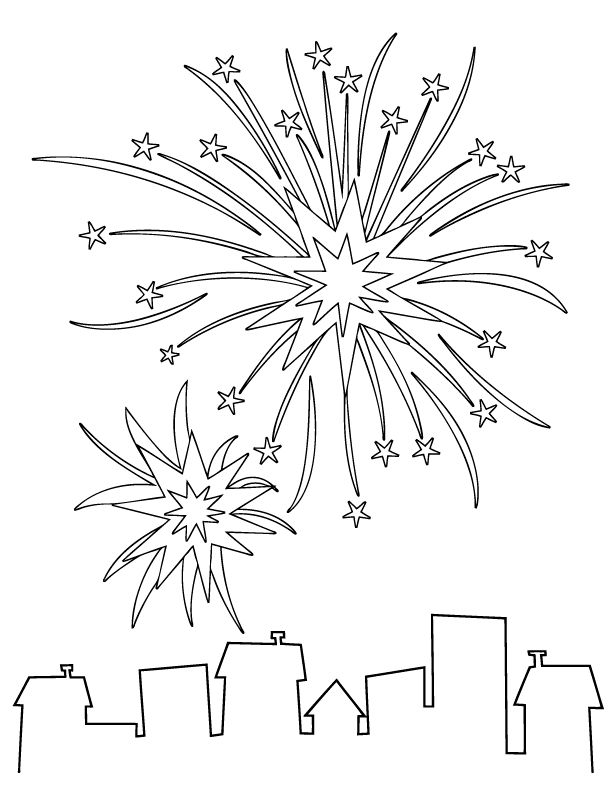 HOLIDAY COLORING PAGES | Fireworks Coloring Page