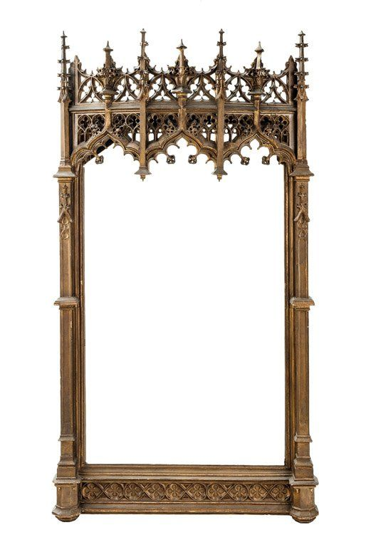 An impressive gilt and carved wood Gothic revival mirror, French, 19th century. 166 x 89cm