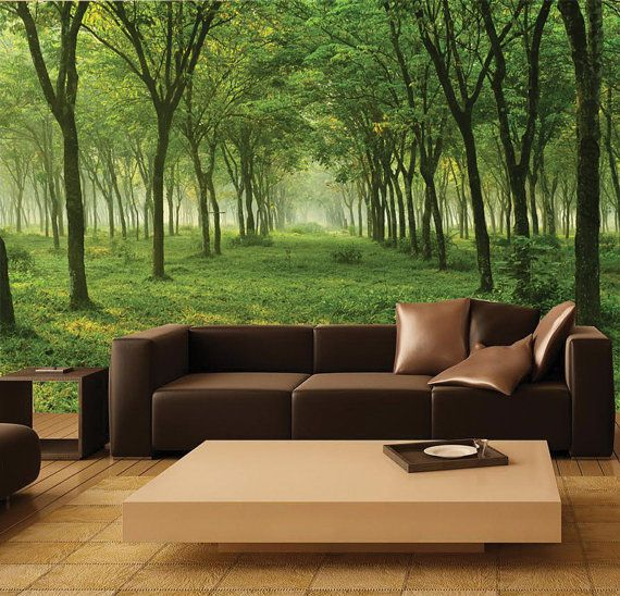Wall MURAL Green Forest Wall Paper, Self-Adhesive Wall Covering, Peel And Stick Repositionable Trees Wallpaper