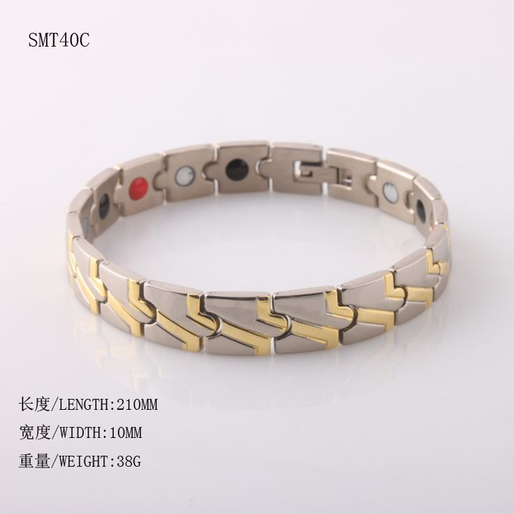 ==> [Free Shipping] Buy Best Wholesale 6pc per lot Fashion jewelry bracelet steel bracelet two tone magnetic &germanium health bracelet free shipping Online with LOWEST Price | 32644913695