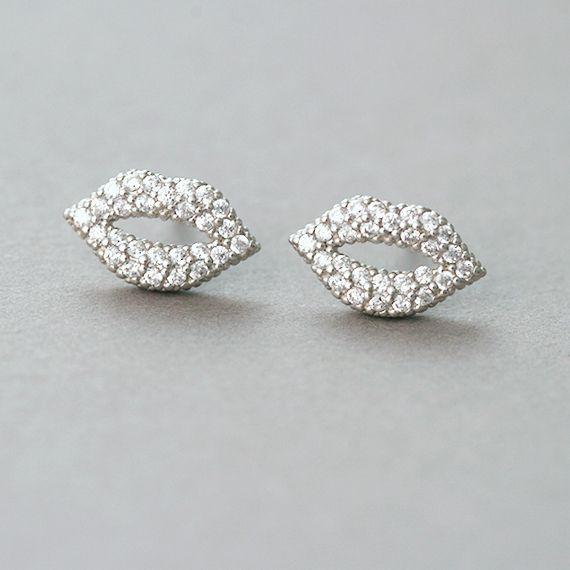Micro Pave Swarovski Kiss Me Lip Stud Earrings White Gold from kellinsilver.com