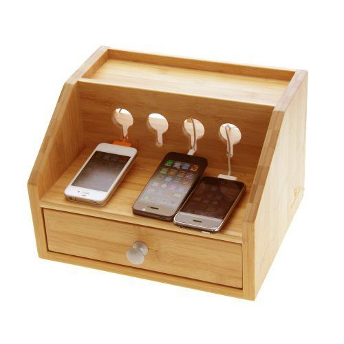 Woodquail Natural Bamboo Gadgets Desktop Organiser Cable Tidy with a Drawer. Holes for charging phones, players, cameras, etc. Cable Management. by Woodquail at finoak.com, http://www.amazon.co.uk/dp/B00E9YDBQS/ref=cm_sw_r_pi_dp_vn9Jsb1BS6BHB