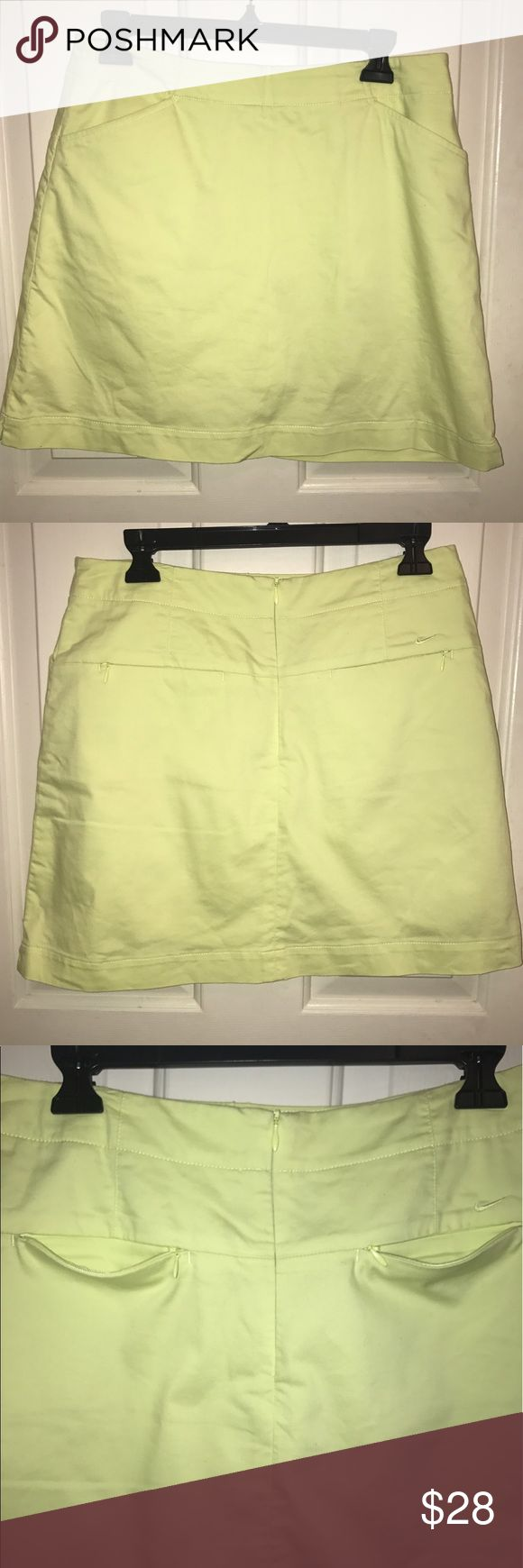 Euc💜NIKE 💜Chartreuse colored Golf Dry Fit Skort EUC 💜NIKE GOLF 💜Chartreuse colored Dry Fit Skort. Size- Medium. 2 Front pockets. Two back pockets with zipper closures. Hidden Back zipper. Nike Shorts Skorts