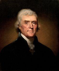 Thomas Jefferson (13 de abril de 1743-4 de julio de 1826)1 fue el tercer presidente de los Estados Unidos de América, ocupando el cargo entre 1801 y 1809. Se le considera uno de los Padres Fundadores de la Nación.  Su eminencia viene dada porque fue el principal autor de la Declaración de Independencia de los Estados Unidos de 1776. Jefferson fue uno de los Padres Fundadores más influyentes, conocido por su promoción de los ideales del republicanismo en los Estados Unidos.