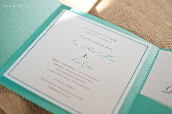 Tiffany Blue Pocketfold Invitation Sample by DetailsBeyondDesign | Tiffany Blue Wedding ...