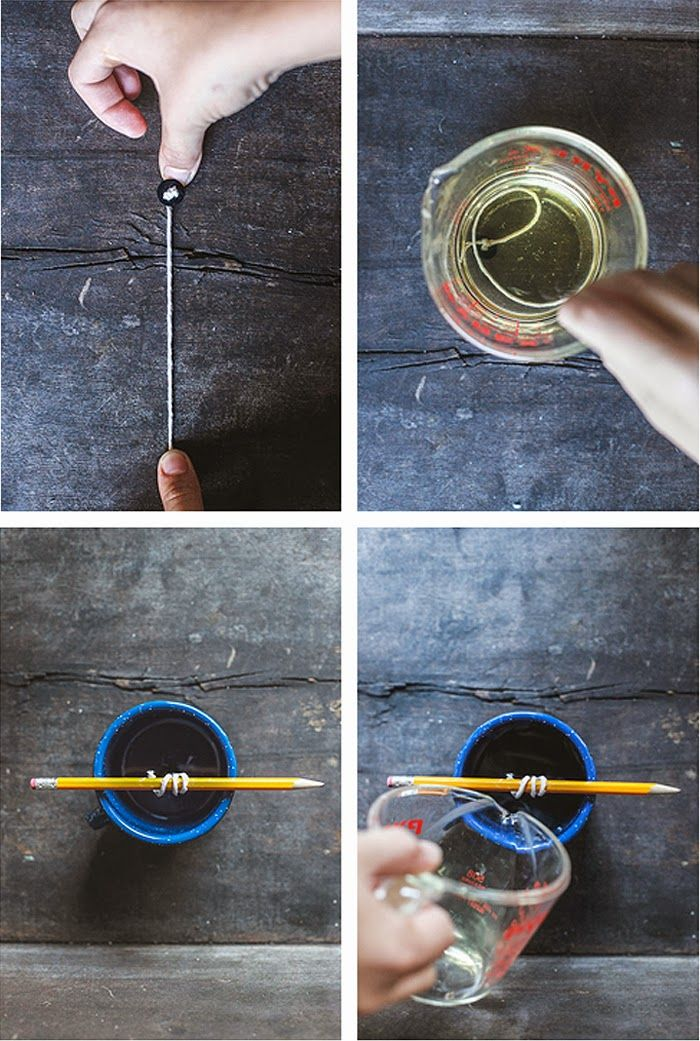 Poppytalk: DIY Camp Mug Candle, make your own wick using a string and button