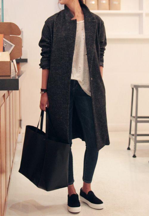 *black slip on sneakers, black jeans, torn white tee, heathered wool coat
