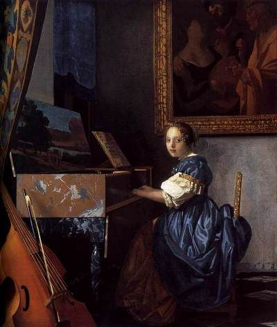 <버지널 앞에 앉은 여인> 1673~1675, 얀 베르메르  17세기 네덜란드의 화가 얀 베르메르는 신비롭고 비밀스러운 분위기의 그림으로 관객을 사로잡는다. 그는 네덜란드의 섬세한 정서가 반영된 사실주의 작품을 주로 그렸는데 이 작품은 그의 말년작으로 알려진다. 여인은 악기 버지널 앞에 앉아 있고 그 옆에는 현 6줄의 비올(첼로의 17세기 형태)이 놓여 있다. 여인은 이제 막 음악을 연주하려 하는 듯 하다. 비올이 세워져 있는 것으로 보아 그녀는 음악 교사를 기다리고 있다. 하지만 여인의 표정은 그닥 좋지 않다. 그 이유는 뒤에 걸린 그림에서 찾을 수 있다. 한 여성이 류트를 연주하는 동안 옆의 남자가 돈주머니를 내밀고 있고 노파가 이를 지켜보고 있다. 17세기 회화 속의 음악은 본래 목적에서 어긋난 역할을 종종 했다. 음악 레슨은 연주자들의 자연스런 스킨십을 시도하는 수단으로 이용된 것이다. ♪ : http://www.youtube.com/watch?v=YF3Qdk0XYx8