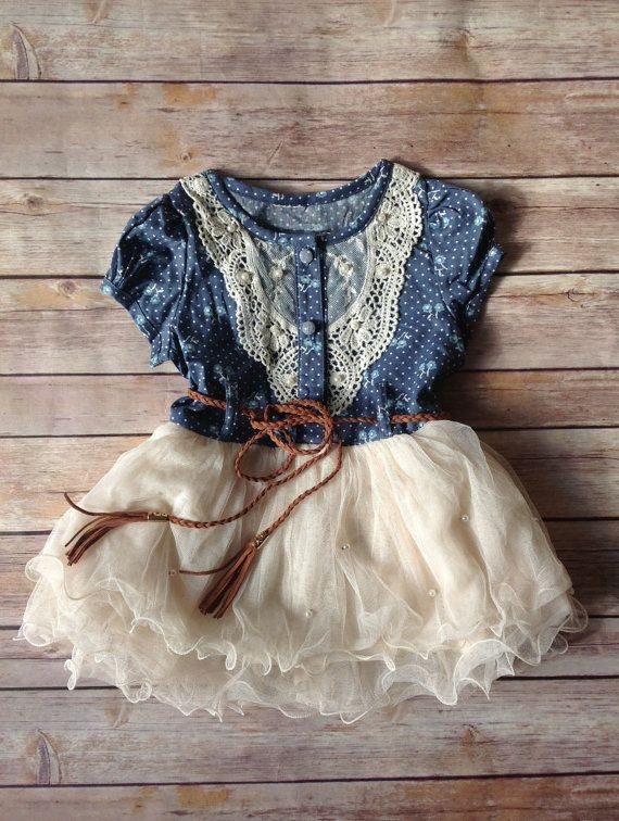 With some cute baby cowgirl boots!  Navy Ivory Toddler Girls Dress.